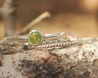 On Sale Natural Peridot Ring - Stone Ring - Stacking Ring - Gemstone Jewelry - Handmade Jewelry