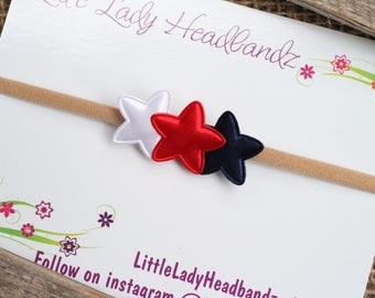 Patriotic Stars baby headband nylon stars headband 4th of July headband red white and blue - toddler little girl