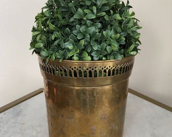 Vintage Solid Brass Planter, Weathered With Patina.