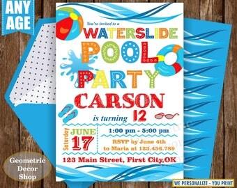 Pool Party Birthday invitation Waterslide pool party invite digital printable Graduation summer party Bash Boy blue Red orange BDP21