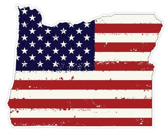 Oregon State (J38) USA Flag Distressed Vinyl Decal Sticker Car/Truck Laptop/Netbook Window