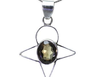 Smoky Quartz Pendant, 925 Sterling Silver, Unique only 1 piece available! color brown, weight 6.6g, #26214