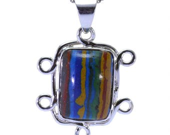 Rainbow Calsilica Pendant, 925 Sterling Silver, Unique only 1 piece available! color multicolour, weight 3.6g, #31949