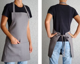 Natural Linen apron Womens Aprons Full apron Adjustable apron Cooking apron Kitchen apron Pinafore apron hostess gift craft gift new home