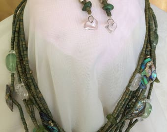 fab ONE OF A KIND multi strand necklace and earrings-glass/mop/silvertone