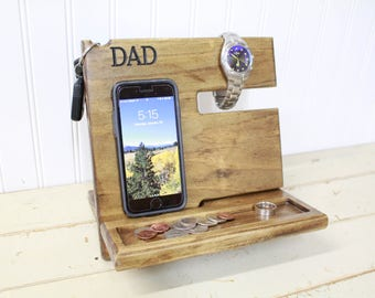 Phone Dock - Solid Wood Phone Station - IPhone Docking Station - Charging Station - Nightstand Valet