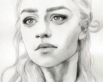 ORIGINAL - Daenerys Targaryen - Game of Thrones - watercolour painting - A4