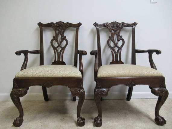Pair of Henredon Ball and Claw Mahogany Chippendale Dining Room Arm Chairs