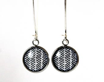 Earrings Cabochon 14 mm geometric minimalist ° ° °