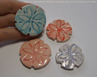 READY to SHIP Choose your colors Sand-dollar Sand Dollars ITPH Ceramic pottery mosaic tile Beach House Garden Mailbox Decor Magnet Diffuser