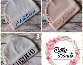 Newborn baby beanie   Hat   coming home outfit   personalised baby beanie