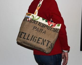 Coffee bag tote - hand made