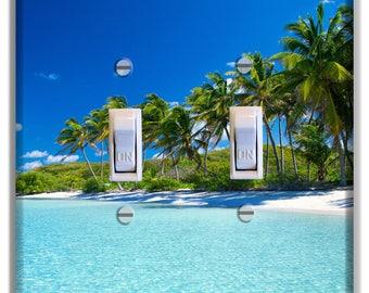 Beach Palm Trees Sky beach Ocean Light Switch Plate Cover Decor Bedroom Bathroom Beach House Print