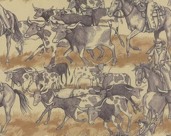 EXTRA 25% OFF Western Americana Cattle Herd Natural - SUNDANCE Trail Natural by Sara Khammash for Moda Fabrics - 11292 16