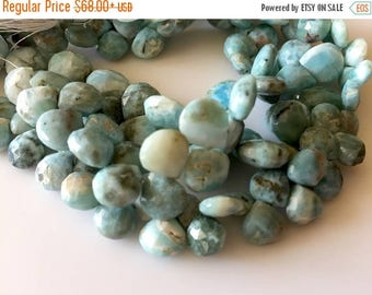 ON SALE 50% 7mm To 8mm Natural Larimar Faceted Heart Shaped Briolette Beads, Larimar Jewelry, Larimar Stone, 8 Inch Strand, GDS709