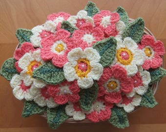 Oval Basket of Beautiful Crocheted Flowers in Vibrant Orange and Primrose Yellow.  UK Seller!