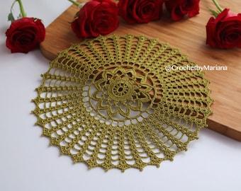 Olive Crochet Doily, Round crochet doily, Handmade doily, crochet lace doily, Crochet table decoration, Crochet item, easter doily