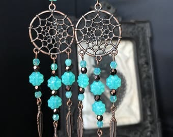 brass dreamcatcher earrings mint beads and feathers
