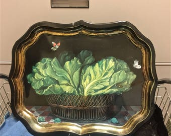 """Lettuce Leaves, Ian Logan 22"""" Black metal serving Tray, Hand Painted by Mimi Roberts, Circa 1993 England"""