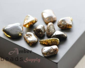 Baltic amber loose stones, Green amber color, Polished stones, Shiny stones, Amber stones, 10 pieces. 0446/12