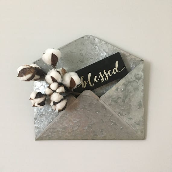 Metal Envelope Wall Decor : Galvanized metal envelope wall decor with cotton stem and