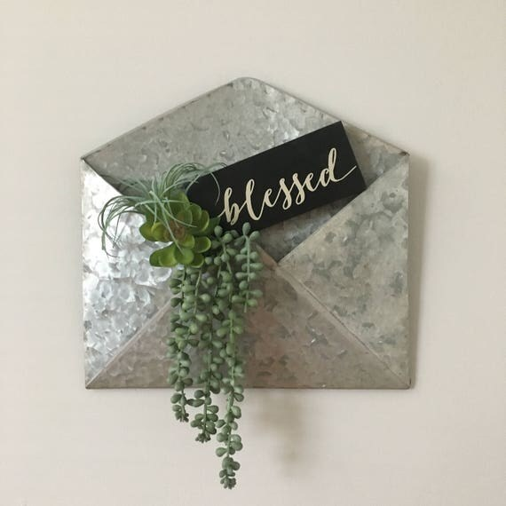 Metal Envelope Wall Decor : Galvanized metal envelope wall decor with greenery bush and