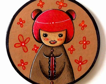 """Kokeshi and red flowers"" round magnets for fridge"