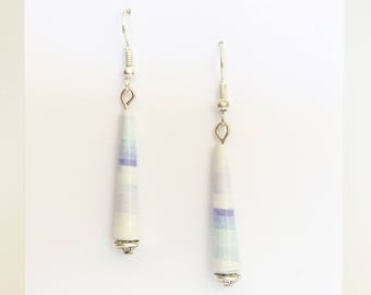 Rolled - paper bead earrings ethnic simple - silver support