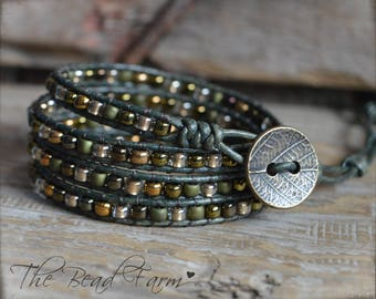 Beaded Leather Wrap Bracelet, Boho Wrap Bracelet, Beaded Leather Wrap Bracelet, Wrap Bracelet, Handmade Beaded Bracelet, 4 Wrap Bracelet