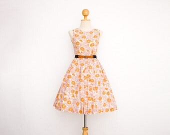 Handmade Vintage Cotton Floral Circle Skirt Dress | 50s Pin Up Dress | Salmon Pink Poppy Flower Print | Sleeveless Pleated Full Skirt | XS