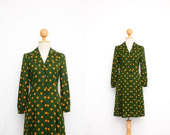 Vintage 60s Dress   Japanese Vintage Dress   Sheer Cotton Dress   Green x Orange Polka Dots   Collared Shirt Dress   Mod Dress   Long Sleeve