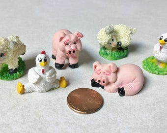 Miniature Farm Animals, Dollhouse-Sized Set of 6 Chick, Pig, Lamb Stoneware
