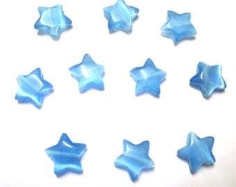 10 blue 10x10x3.5 mm star shaped cat eye beads