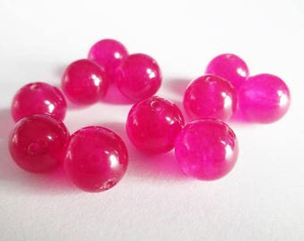 10 jade beads 10mm natural fuchsia