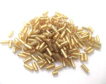 10 grams seed beads tube glass gold 5mm