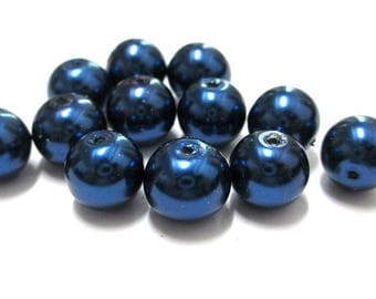 10 Pearl glass 10mm (F-03) dark blue beads
