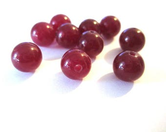 10 pearls Burgundy 8mm natural jade (4)