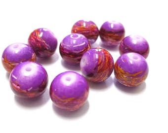 10 multicolored, purple painted glass 10mm beads