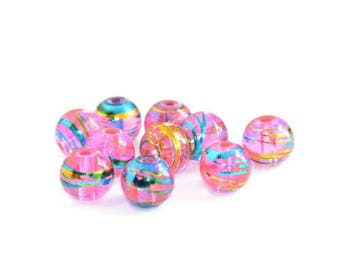 10 translucent pink, blue and gold glass beads 8mm