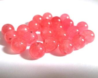 10 pearls coral 6mm natural jade (10)