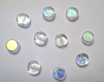 10 round beads and flat electroplate plated 8mm white ab