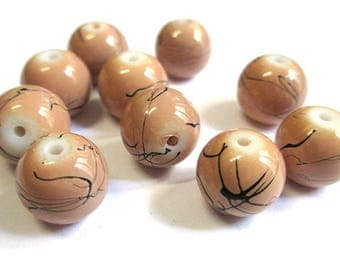10 light brown, black round glass beads painted 10mm