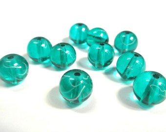 10 green, white translucent 8mm beads