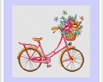 Cross stitch pattern bike, modern cross stitch pattern, cross stitch pattern, cross stitch pattern flower, instant download, PDF