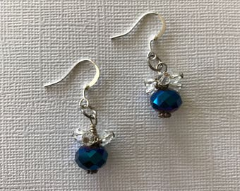 Blue and White Sparkle Earrings