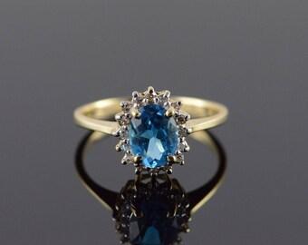 14k 1.20 CTW Blue Topaz Diamond Halo Ring Gold