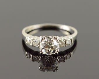 Vintage 1.06 CT Round Center 0.20 CTW Diamond Engagement Ring Palladium