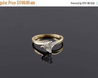 Big SALE 14k 0.94 CT Trilliant Diamond Solitaire Engagement Ring Gold