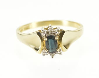 10k Oval Sapphire Diamond Accented Concave Design Ring Gold