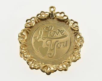 14k Retro Ornate I Love You Scalloped Trim Charm/Pendant Gold